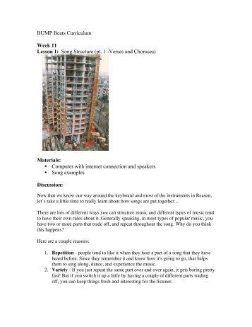 BUMP Beats Curriculum Week 11 Lesson 1: Song Structure (pt. 1 ...