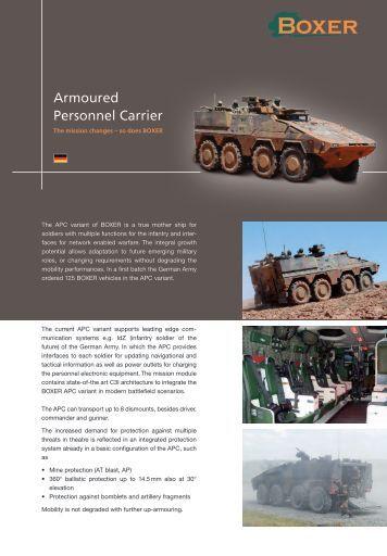 Data sheet Armoured Personnel Carrier - artec-boxer.com