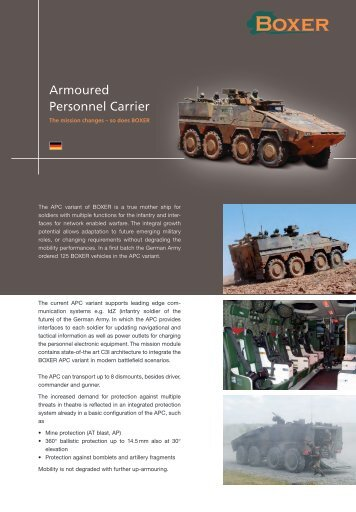 Data sheet Armoured Personnel Carrier - artec-boxer.com