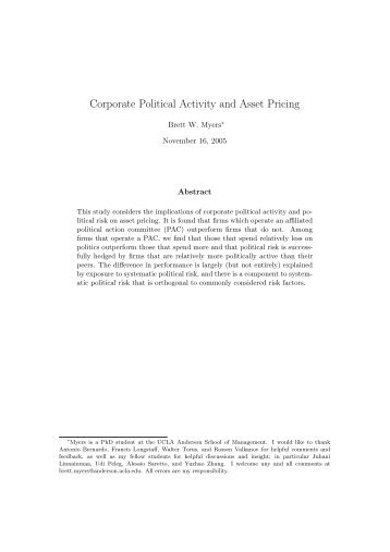 Corporate Political Activity and Asset Pricing (16 ... - Marriott School