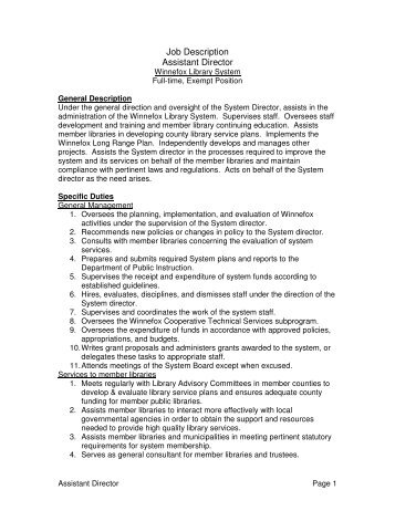 Job Description Assistant Director - Winnefox Library System