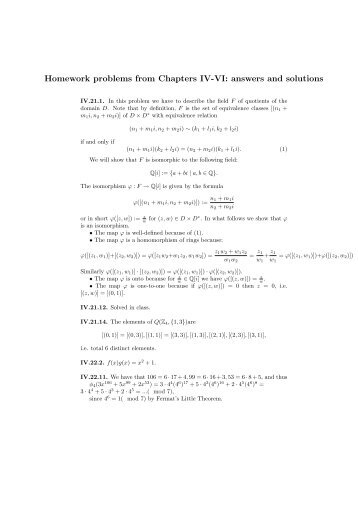 Homework problems from Chapters IV-VI: answers and solutions