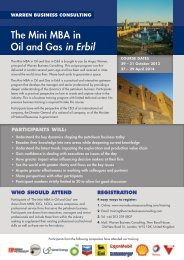 The Mini MBA in Oil and Gas in Erbil - Warren Business Consulting