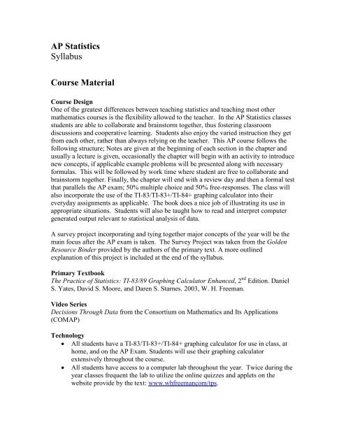 AP Statistics Syllabus Course Material