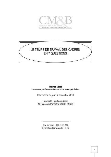 05003290c08 LE TEMPS DE TRAVAIL DES CADRES EN 7 QUESTIONS