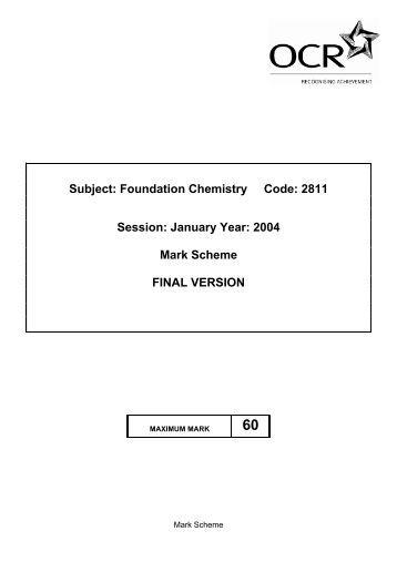 Foundation chemistry past paper