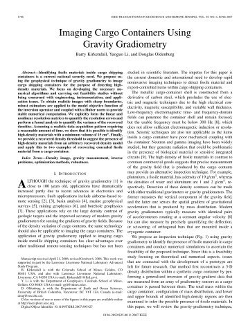 Imaging Cargo Containers Using Gravity Gradiometry - Geophysics ...