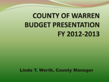 2013 Budget Presentation - Warren County
