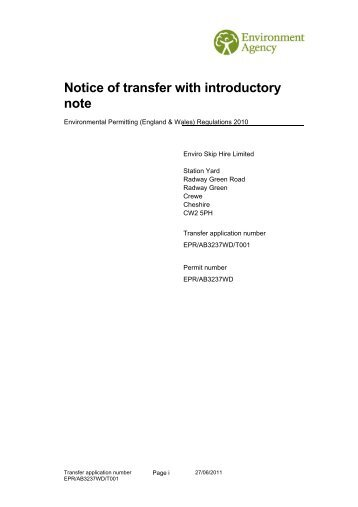 Notice of transfer with introductory note - Enviro Skip Hire