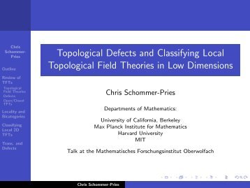 Topological Defects and Classifying Local Topological Field ...