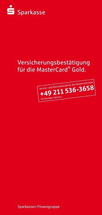 s-Sparkasse Versicherungsbestätigung für die MasterCard® Gold.