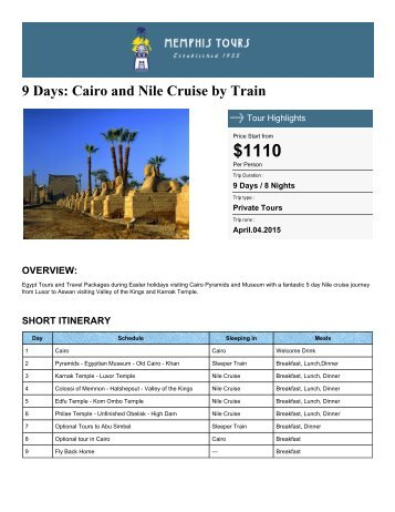 9 Days: Cairo and Nile Cruise by Train - Memphis Tours Egypt