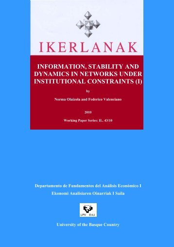information, stability and dynamics in networks under institutional ...