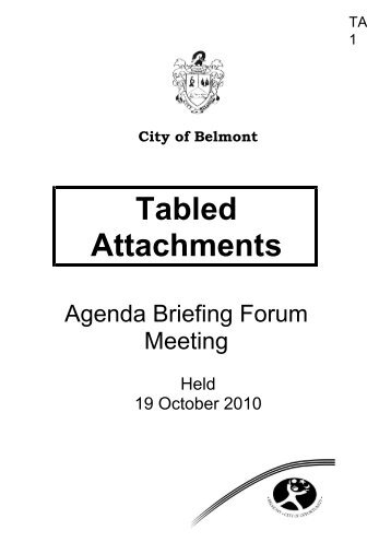 Tabled Attachments - City Of Belmont