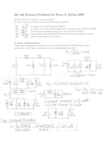 Solutions to Practice Problems for Exam 2
