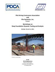 Workshops on Deep Foundation Dynamic Testing and Analysis