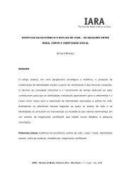 ESTÉTICAS DA EXISTÊNCIA E ESTILOS DE VIDA ... - Iara - Senac