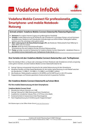 Infodok 517: Die Vodafone Mobile Connect-Datentarife für ...