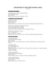 to get a listing of area churches - City of Port Huron