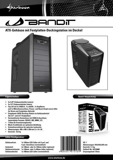 ATX-Gehäuse mit Festplatten-Dockingstation im Deckel - Sharkoon