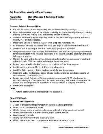 Job Profile Light In Winter Production Manager Role Description