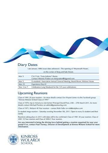 Upcoming Reunions Diary Dates - Kinross Wolaroi School