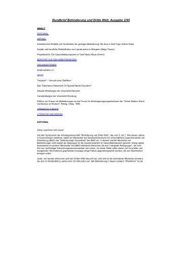 Rundbrief Behinderung und Dritte Welt, Ausgabe 2/95