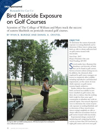 Bird Pesticide Exposure on Golf Courses - College of William and ...
