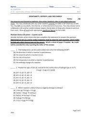 Ch 16 QUIZ - AP Chemistry