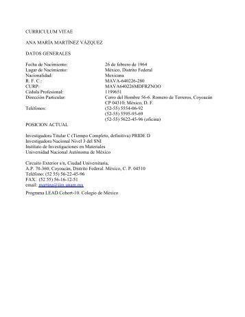 Curriculum Vitae - Junta de Gobierno UNAM