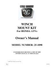 owners manual cc25-1090 - winch mount kit honda - Schuurman B.V.