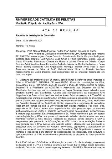 Ata de 12 de julho - Universidade Católica de Pelotas