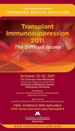 Transplant Immunosuppression 2011 - University of Minnesota ...