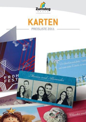 Preisliste Karten - Zumsteg Druck AG