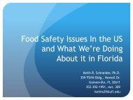 Food Safety Issues In the US and What We're ... - Florida Ag Expo