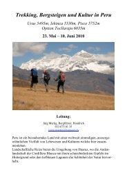 Trekking, Bergsteigen und Kultur in Peru - Bergsteigen-Kandersteg