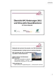 KPC Förderungen 2011 und klima:aktiv Bauen und Sanieren