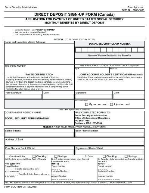 sample direct deposit form canada  DIRECT DEPOSIT SIGN-UP FORM (Canada) - Social Security