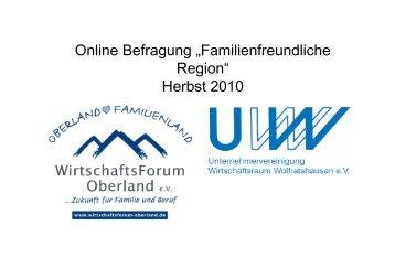 WiFO online Befragung Familien 2010 - Wirtschaftsforum Oberland