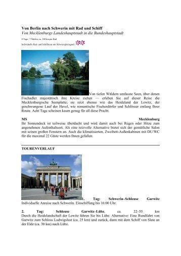 Von Berlin nach Schwerin mit Rad und Schiff ... - Eine Welt Reisen