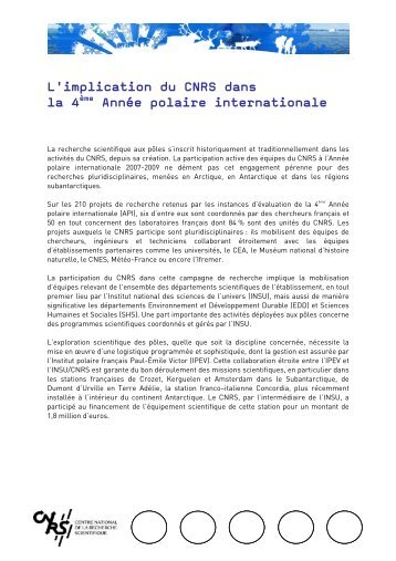 L'implication du CNRS à la 4ème Année polaire internationale