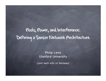 Defining a Sensor Network Architecture - Stanford University
