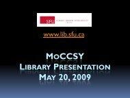 MOCCSY MAY 20, 2009 - SFU Library