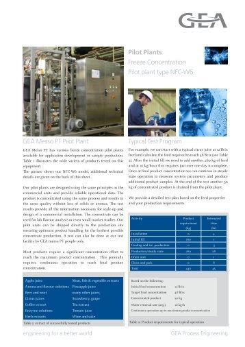 Pilot Plants Freeze Concentration Pilot plant type ... - GEA Messo PT