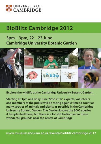 BioBlitz Cambridge 2012 Programme