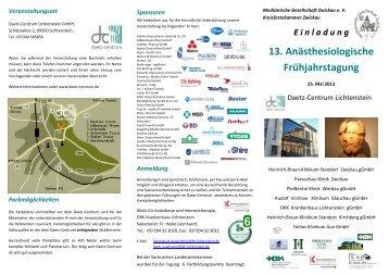 13. Anästhesiologische Frühjahrstagung - Krankenhaus Lichtenstein