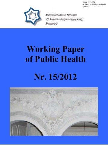 Working Paper of Public Health Nr. 15/2012 - Azienda Ospedaliera ...
