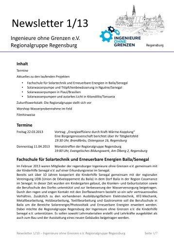 Newsletter 1/13 - Ingenieure ohne Grenzen