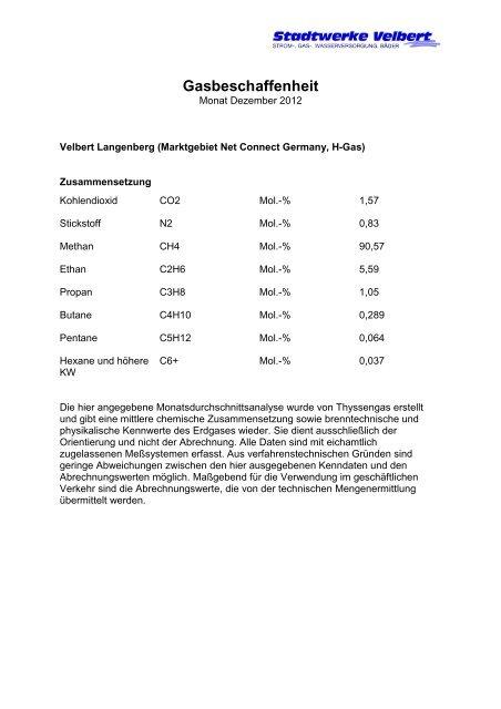 Gasbeschaffenheit Dezember 2012 - Stadtwerke Velbert