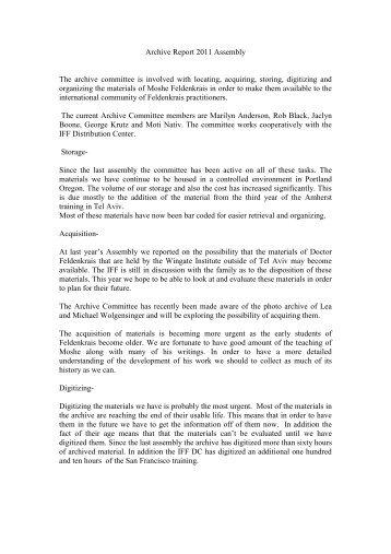 Appendix 2 - Report Archive 2011.pdf - International Feldenkrais ...